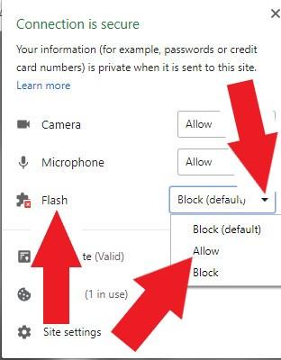 flash activeren google chrome window keuzes